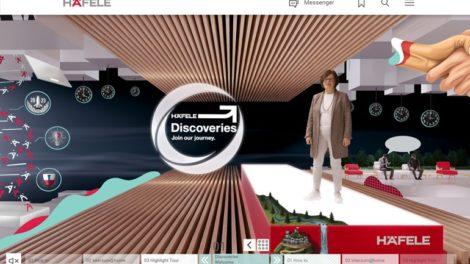 """Häfele-Unternehmensleiterin Sibylle Thierer begrüßt die Besucher in der Lobby der digitalen """"Häfele Discoveries"""" Plattform Foto: Häfele SE & Co KG"""