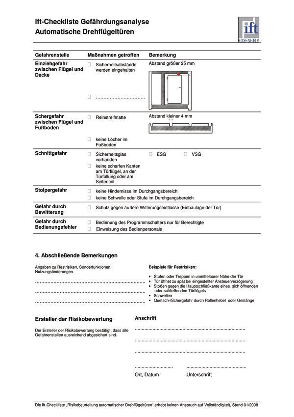 muster gefhrdungsanalyse fr eine elektrisch betriebene drehflgeltr kommentar zur en 14351 1 - Gefahrdungsanalyse Muster
