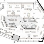 Drubba Moments-Verkaufsraum-Grundriss: Um einen Kern mit Cafébar sortieren sich Markenshops