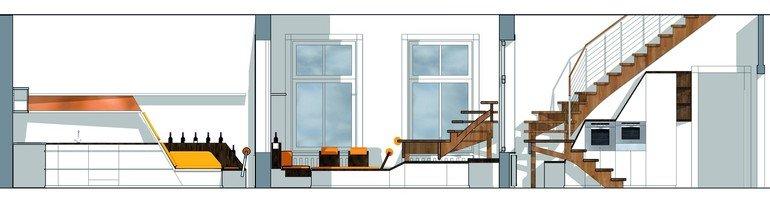 kuchenmobel zum sitzen : Regal, Oberschrank, Anrichte und Essplatz verschmelzen dynamisch zu ...