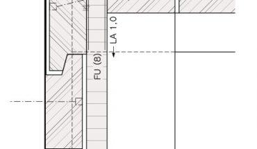 Vertikalschnitt: Wandhängende Montage mit Falzleisten