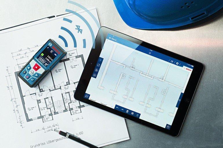Entfernungsmesser: Grundrisse vor Ort zeichnen und bemaßen: Measuring Master App von Bosch