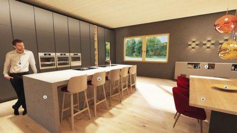 In 360-Grad-Räumen zeigt der virtuelle Adler-Showroom die Produktlösungen nach ihren Anwendungsbereichen wie z. B. Möbellacke in der Küche Foto: Adler-Werke