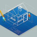 Architectural_design_blueprint_drawing_3d_isometric_illustration._Project_construction_house,_vector_plan_home