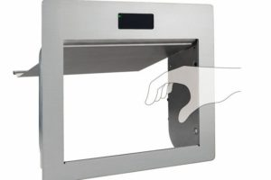 Leise und hygienisch: automatische Abfallklappe von Sugatsune Abb.: Sugatsune Europe GmbH