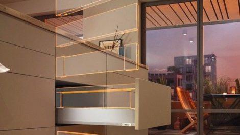 Schubkasten-Boxplattform »Merivobox« von Blum: Erst bohren, dann entscheiden - die Varianten sind austauschbar Foto: Julius Blum GmbH Beschlägefabrik