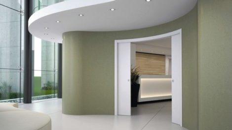 Wie die Wand so die Tür – mit dem Schiebetürsystem Circular lassen sich Schiebetüren mit Schiebekasten in beliebigem Radius bauen