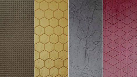 Textile Oberflächen mit dreidimensionaler Prägung: Dekorative Material-Kreationen aus der »Fabric Line« von Sibu bei Ostermann Foto: Rudolf Ostermann GmbH