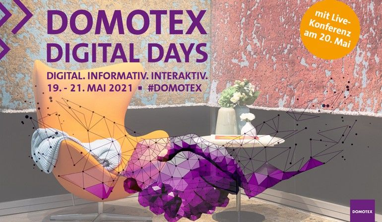 Die Domotex 2021 findet als reines Digitalevent vom 19. bis 21. Mai 2021 statt. Foto: Deutsche Messe