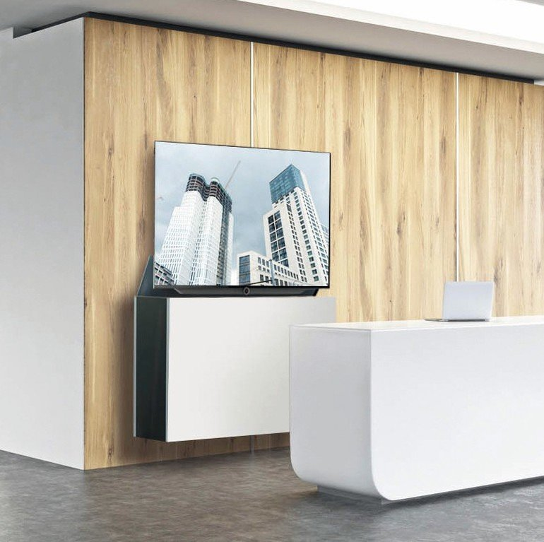Empty_office,_white_reception_at_wooden_wall._Panoramic_window_right,_meeting_room_behind._New_York._Concept_of_reception._3D_rendering