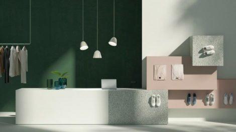 Der Markenauftritt zur neuen Pfleiderer Design-Kollektion 2021-2024 visualisiert horizontale und vertikale Anwendungen