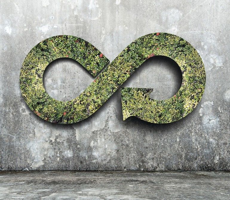 Green_circular_economy_concept._Arrow_infinity_symbol_with_grass_on_concrete_wall.