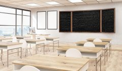Business_University_classroom_interior._Blackboard_and_posters_on_wall,_wooden_desks_and_plastic_chairs._Concept_of_obtaining_knowledge._Back_to_school._3d_rendering._Mock_up