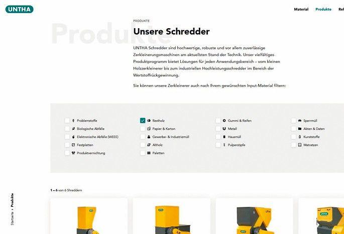 Einfach und schnell den richtigen Shredder finden auf der neuen Webseite von Untha Foto: Untha Shredding Technology