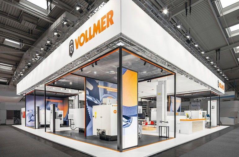 Vollmers digitaler Messestand zur Ligna.In bietet Live-Austausch mit online bereitstehenden Ansprechpartnern Foto: Vollmer Werke Maschinenfabrik GmbH