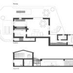 Grundriss und Schnitt von Casa Morelli. An das eingeschossige Haupthaus schließt sich das zweigeschossige Schlafhaus mit den Badezimmern an Zeichnungen: Holzrausch